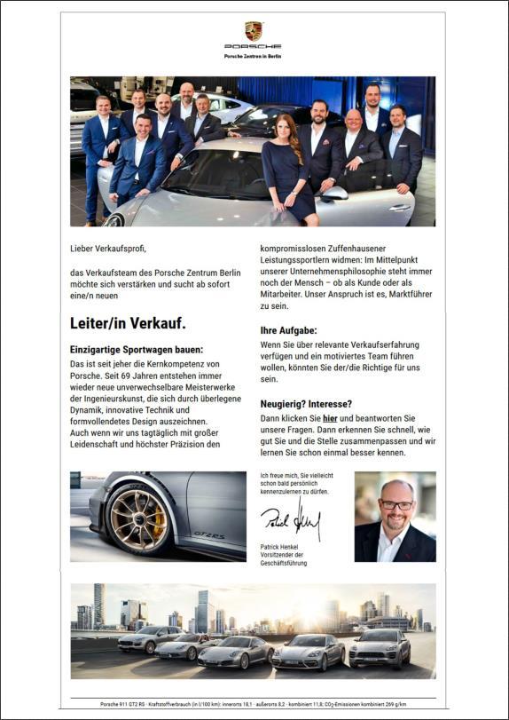 Bild Beispiel Verstärkungswunsch für Leiter Verkauf bei Porsche
