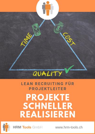Lean Recruiting - Dreieck mit drei Projektvariablen Time, Cost, Quality